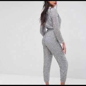 Sequin Long Sleeve Jumpsuit